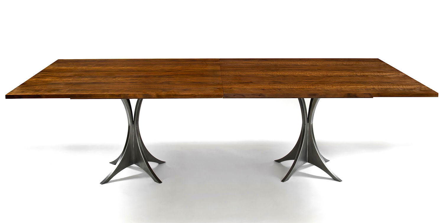 "Double Arc table, walnut, steel 96"" x 44"" x 29.5"""