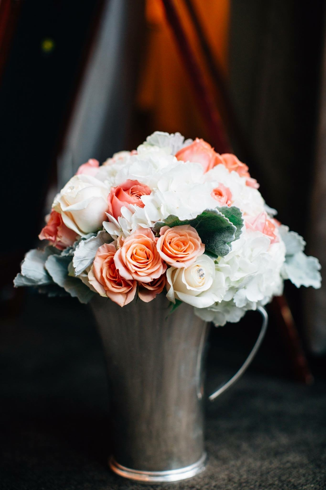 The Juliet garden roses were a show-stopper in the bridal bouquet.