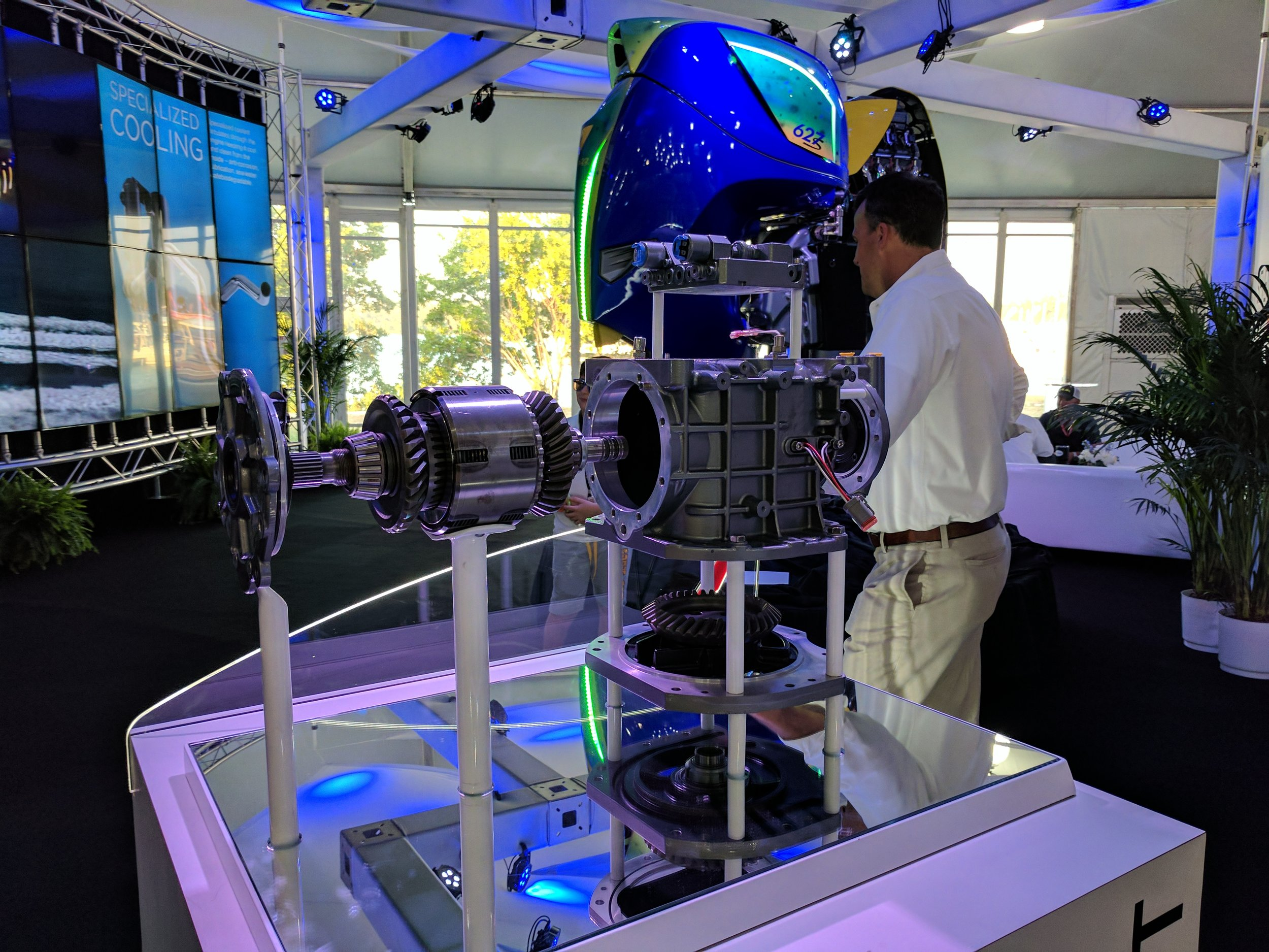 The Seven Marine 627 is an engineering masterpiece. Display from the 2017 Miami boat show.
