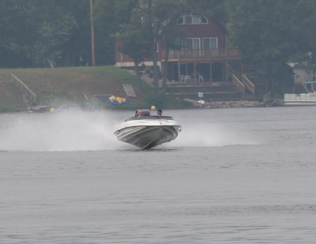 Flying - Airing it out, not a beginner boat with big power on it.