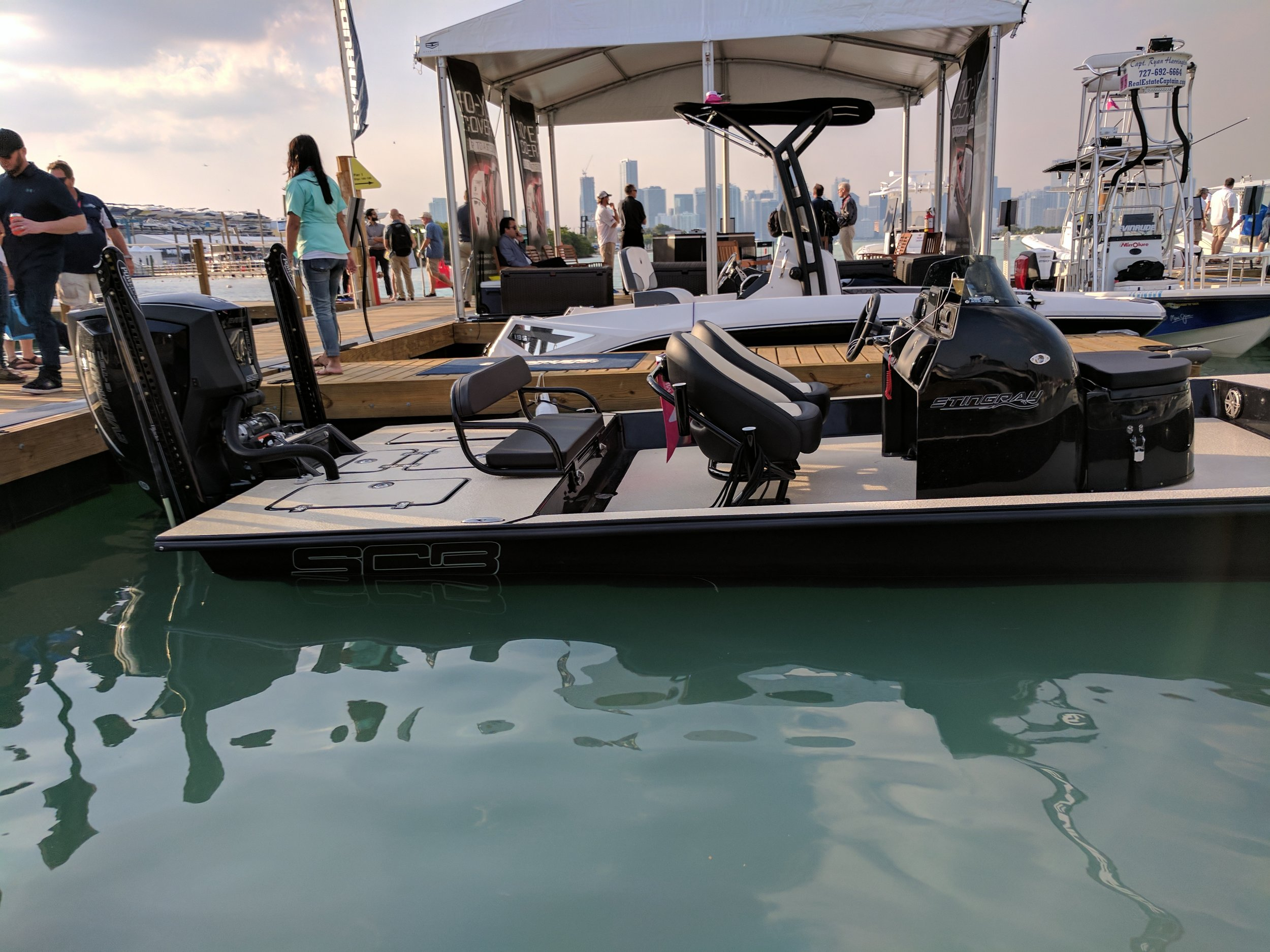 It's a fishing boat, we don't cover fishing boats usually but this is a very unique boat, the SCB Stingray is a center pod tunnel flats / bay fishing boat. Looks crazy in person, very cool boat by SCB Boats of Texas. -  Website