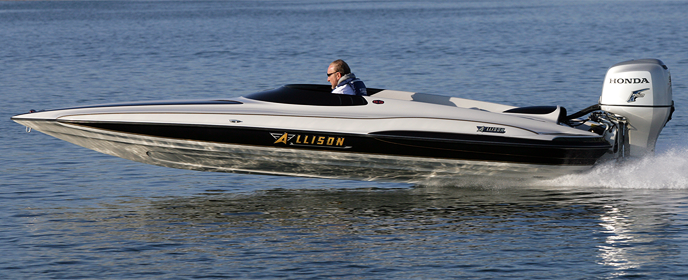 Efficient? Try over 60 MPH with a 90 HP Honda. The Allison SS-2000 gets almost 13 mpg and 10 mpg at 60 MPH. On the water, that is incredible.