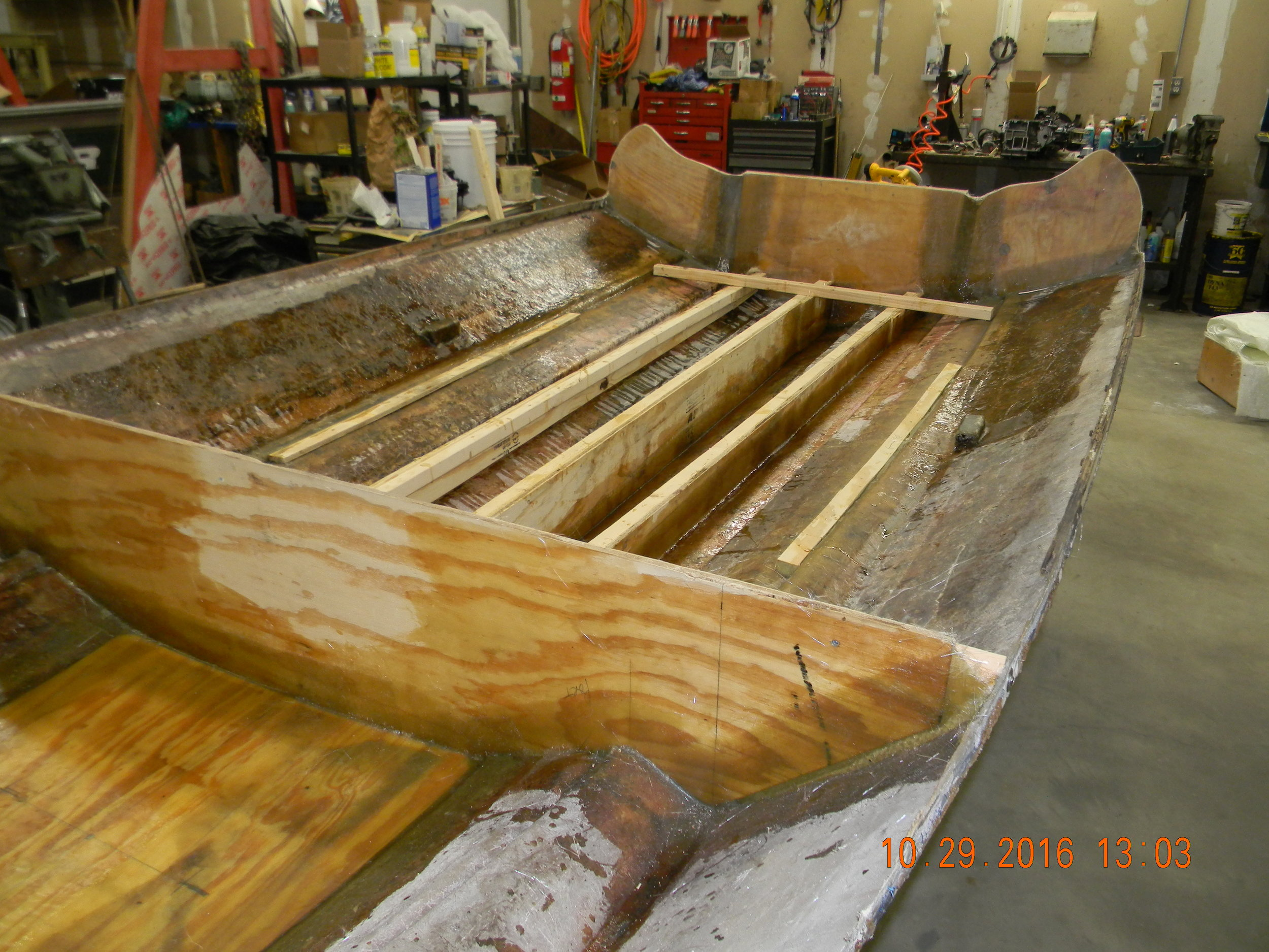 Restoration - Bulkheads, stringers, transom all addressed in this deck off restoration.