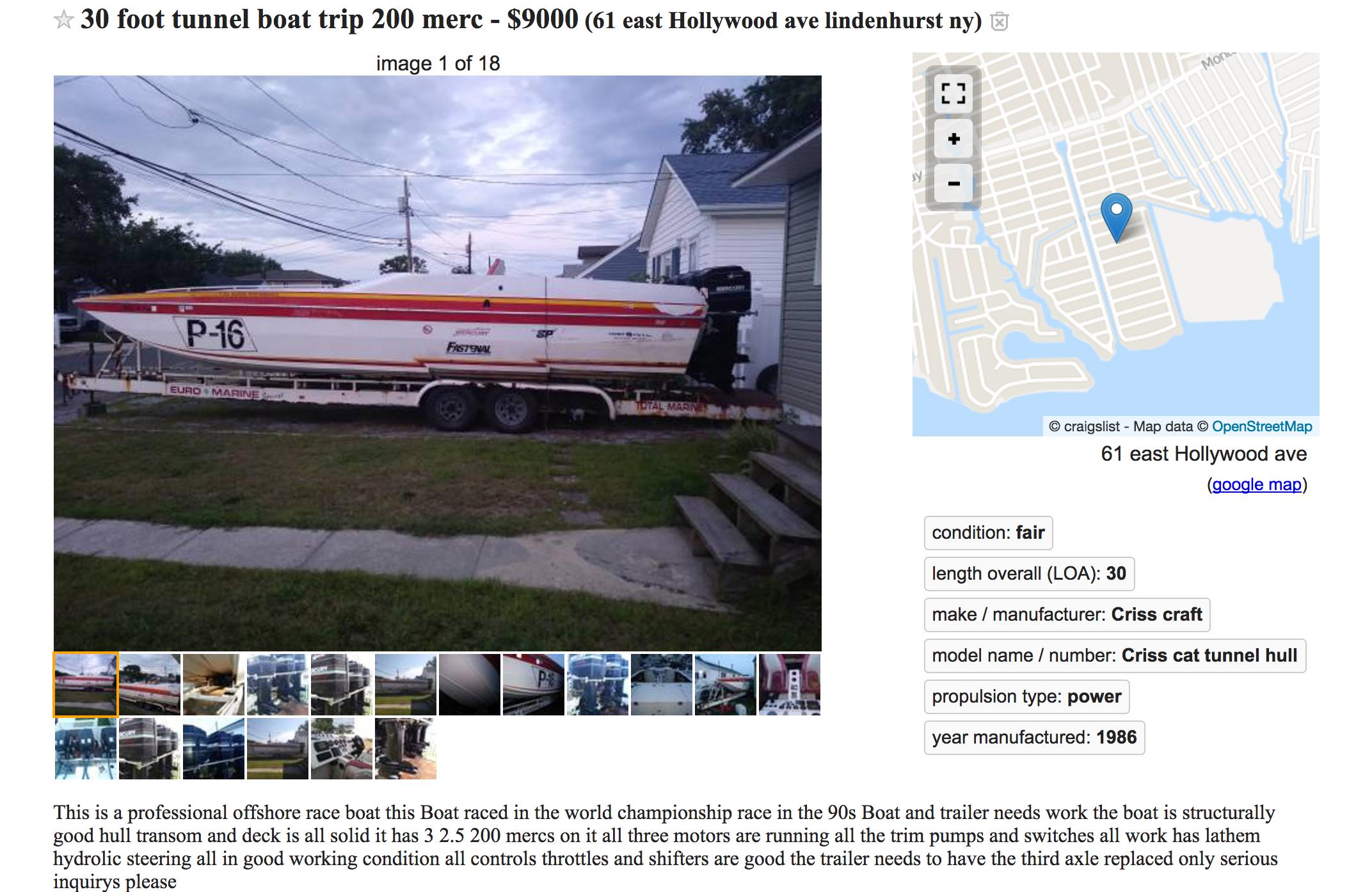 30 Tunnel race boat