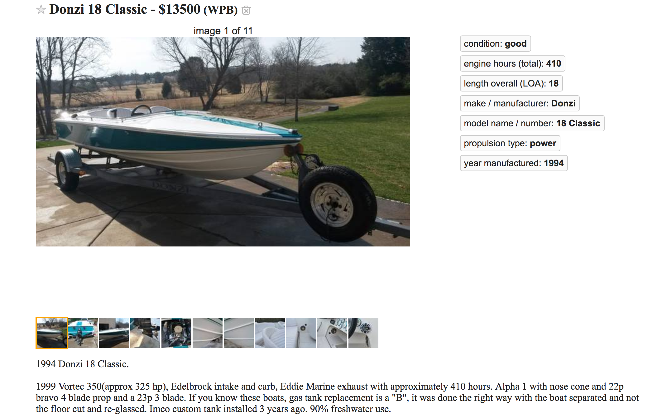Value - Donzi's are popular and they have brand cache but this is 23 years old, had the hull and deck separated for repair and has an old carb engine, Alpha drive. What's it worth?