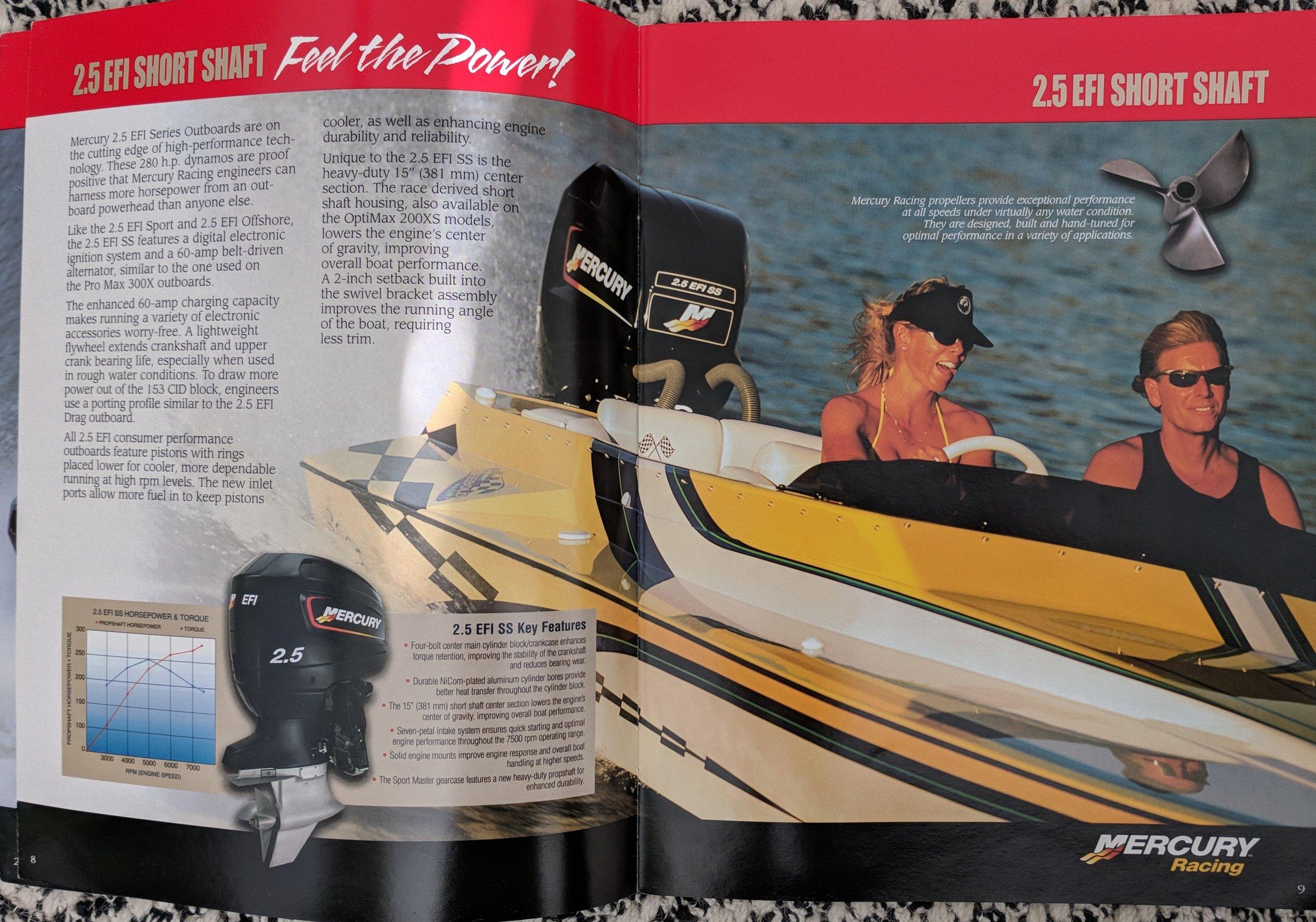 A 2001 Mercury Racing 2.5 SS 280 HP, the ultimate lightweight powerhouse.