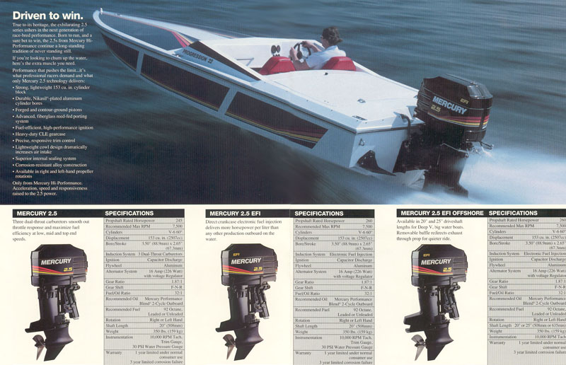 A Progression 22 seen here in an old Mercury Racing brochure, with a Mercury Racing 260 HP 2.5