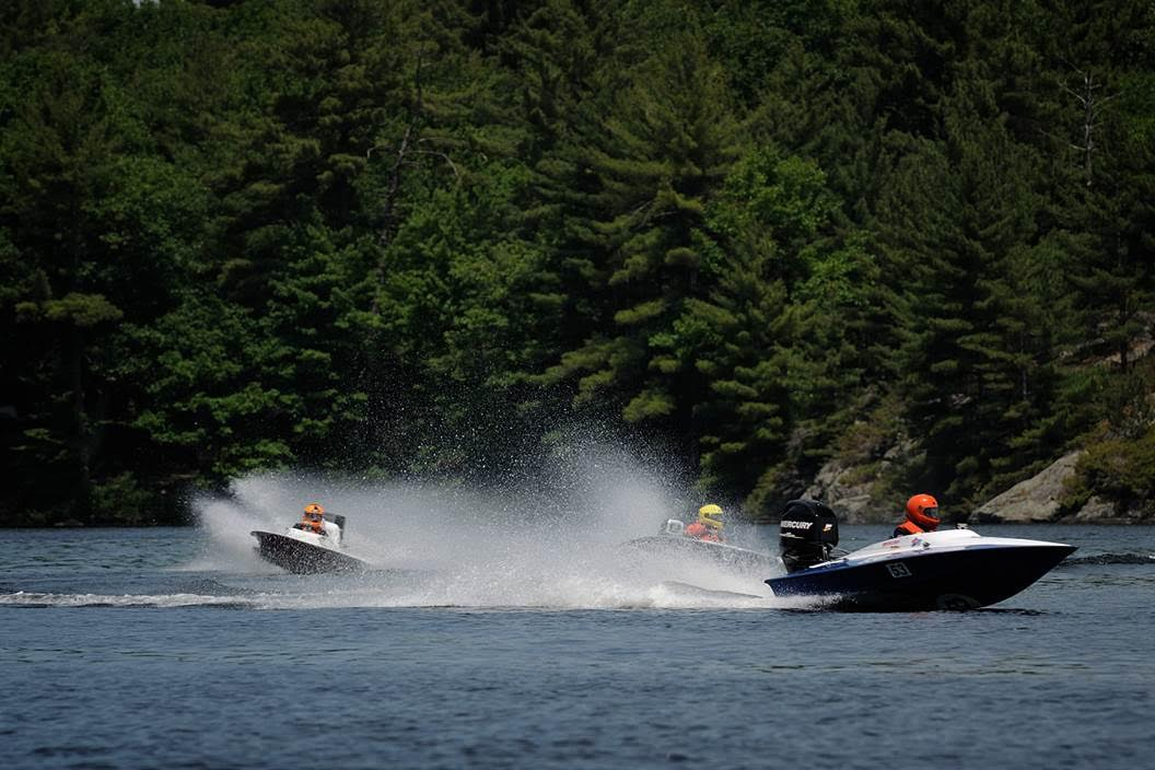 The Rapid Craft Cyclone with the Mercury Racing Formula Race 60 HP does great against the old 2-strokes. Tom's hull is a little heavier but it can handle better that way too. Ontario Canada. (Photo credit: Matt Makauskas)