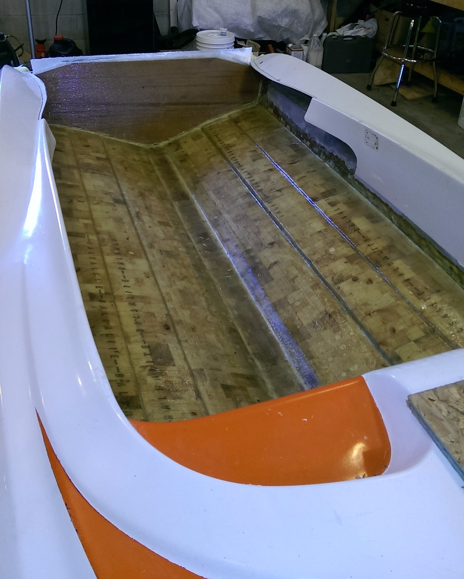 After the core and transom install. Mike took his time and laid it up strong and light.