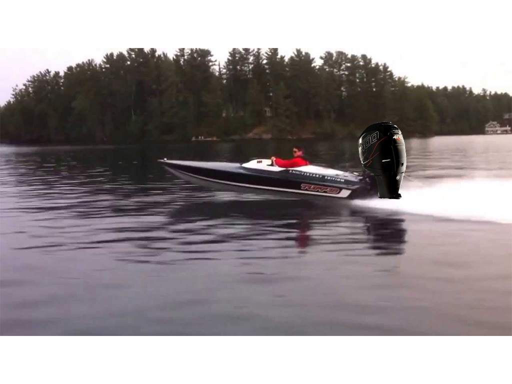 The perfect engine for this boat. A Tuff 16 with a 400R (it's fake!)
