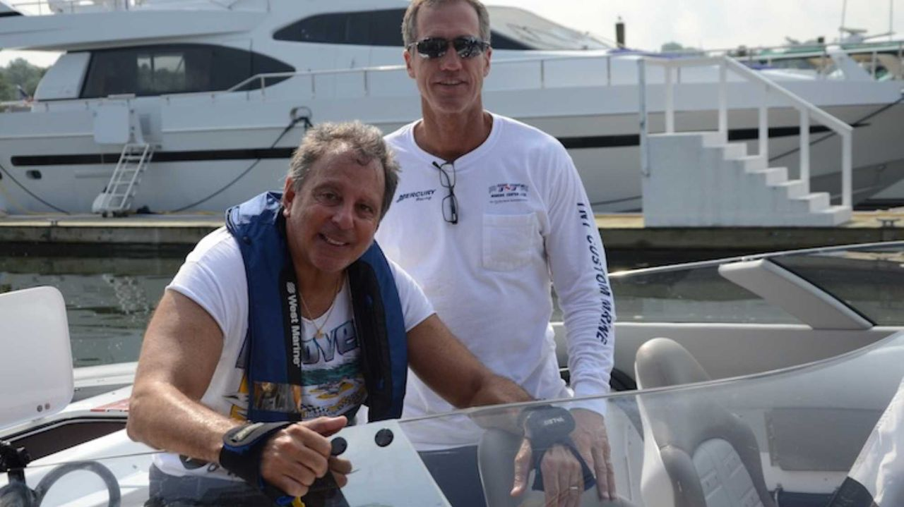 John Tomlinson (right) and Stuart Hayim, set the speed record around Long Island in 2012.