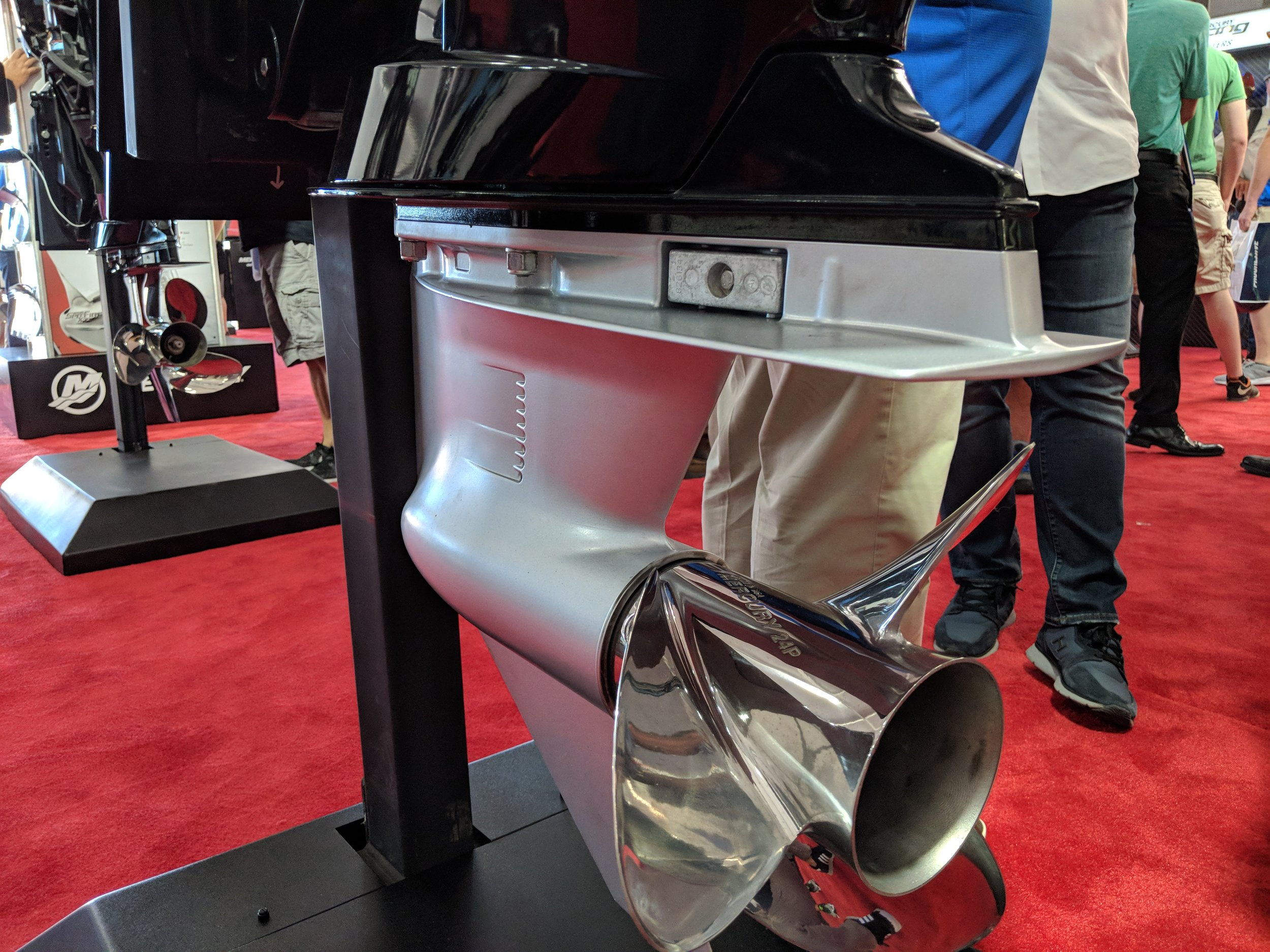 The new lower unit on the 150 ProXS four stroke has low water pickups, great for elevated transom heights.