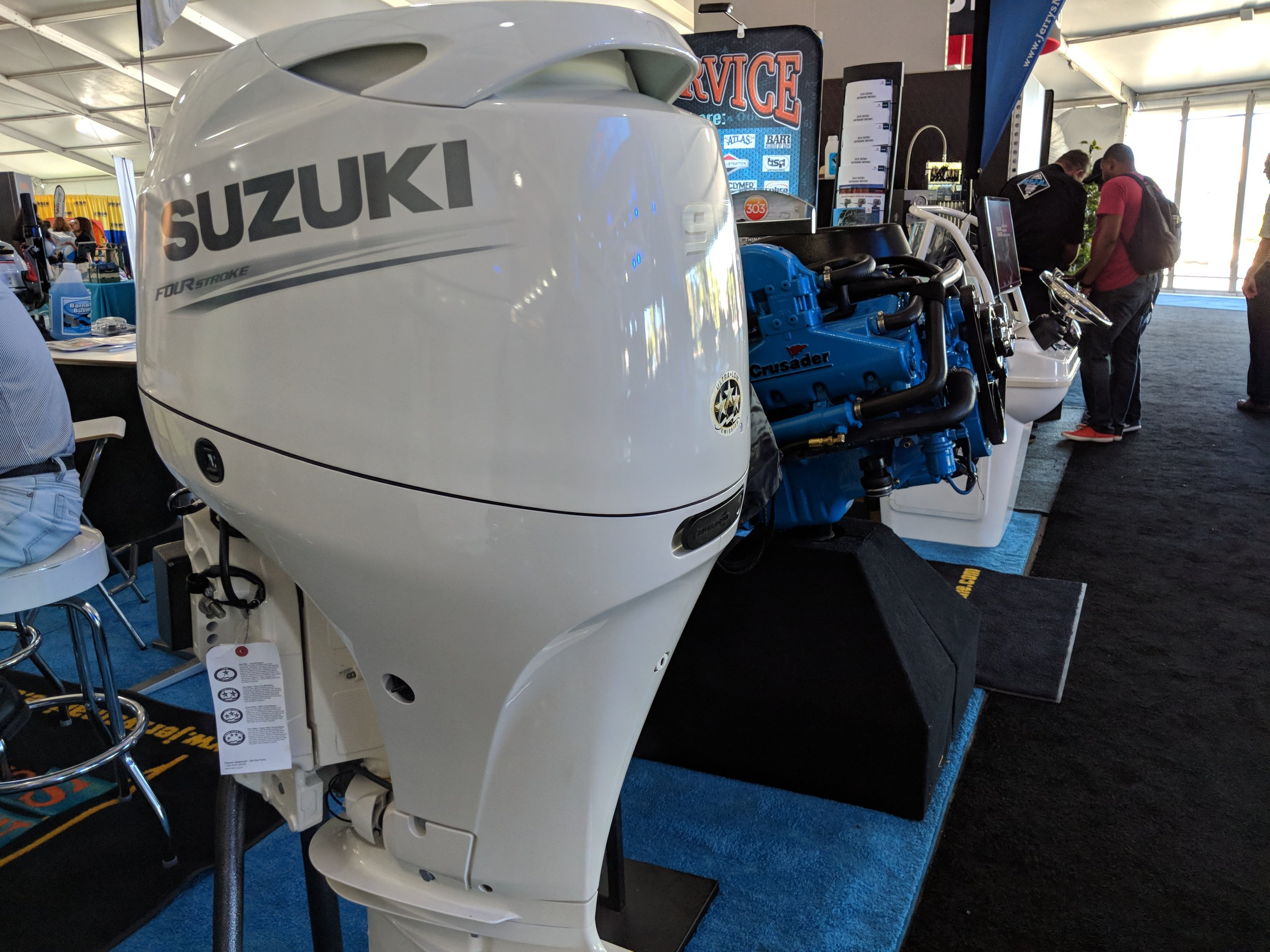 The Suzuki DF90 is one of the lightest 90 horsepower engines on the the market at 343 Lbs, and its 4 cylinder design makes it a good option for light small hulls.