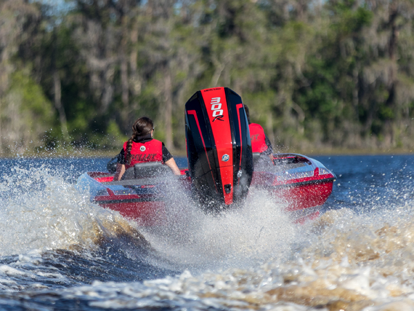 The 300R is lots of power, and be able to suit plenty of different hulls.