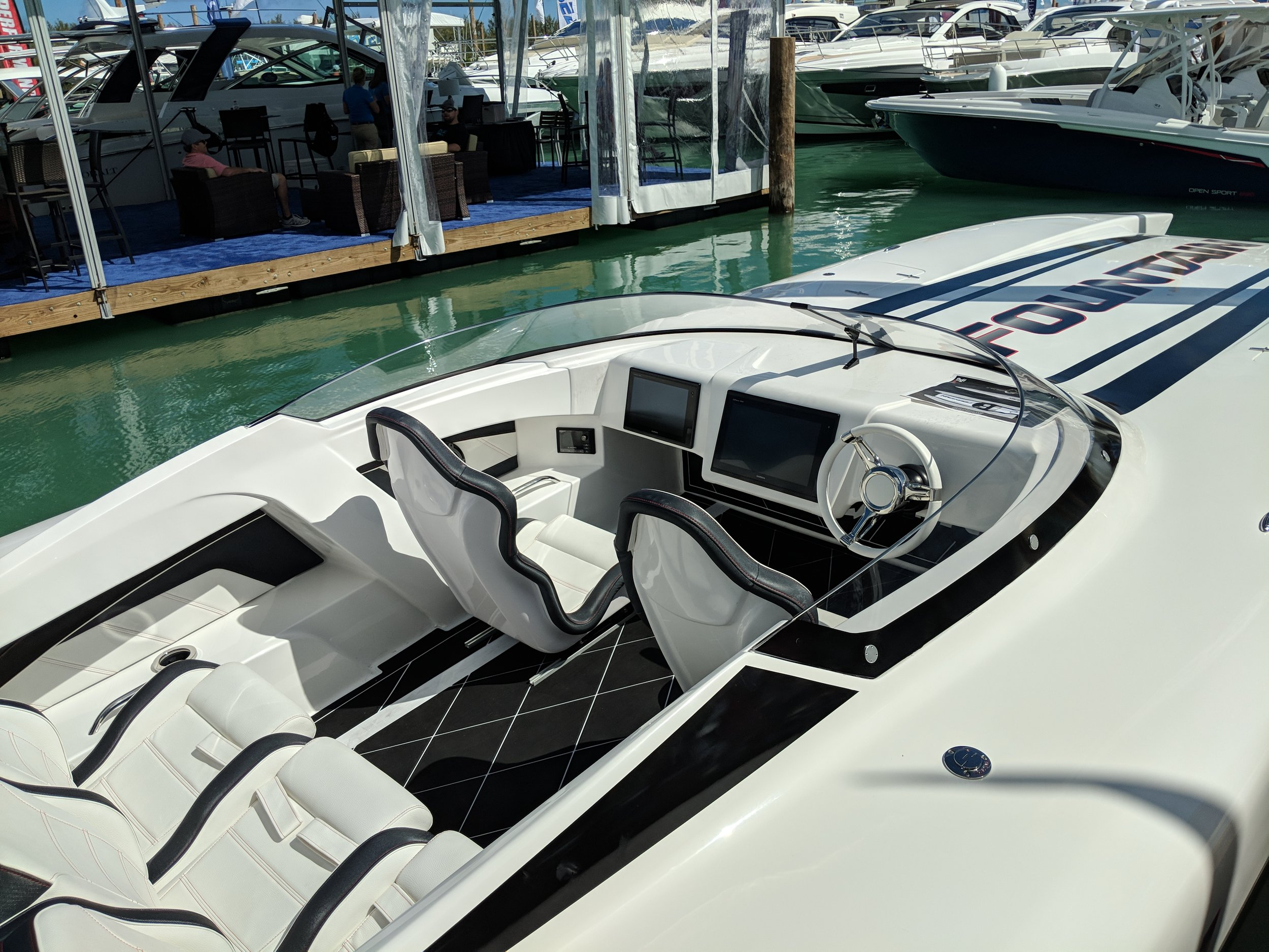 The 32' Fountain Thunder Cat will be in the roundup, and it's a very unique offering for the recently revitalized brand, known for their record setting offshore V hulls.