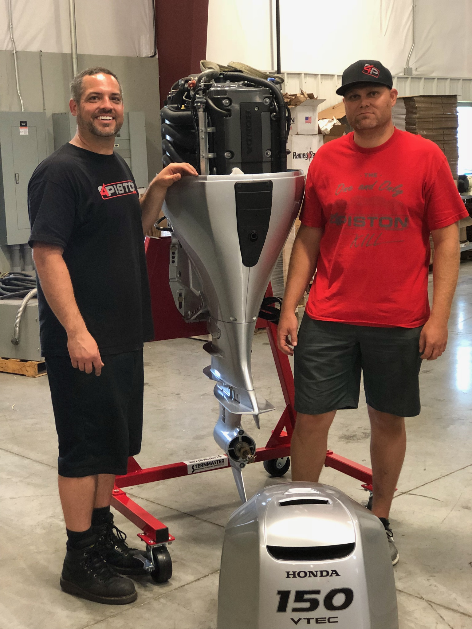 K24 - Luke and Josh from 4 Piston Racing, working on the outboard version of an engine they know extremely well. Their cylinder heads and race engines are legendary. They've built k24 based engines capable of 500 HP, naturally aspirated.
