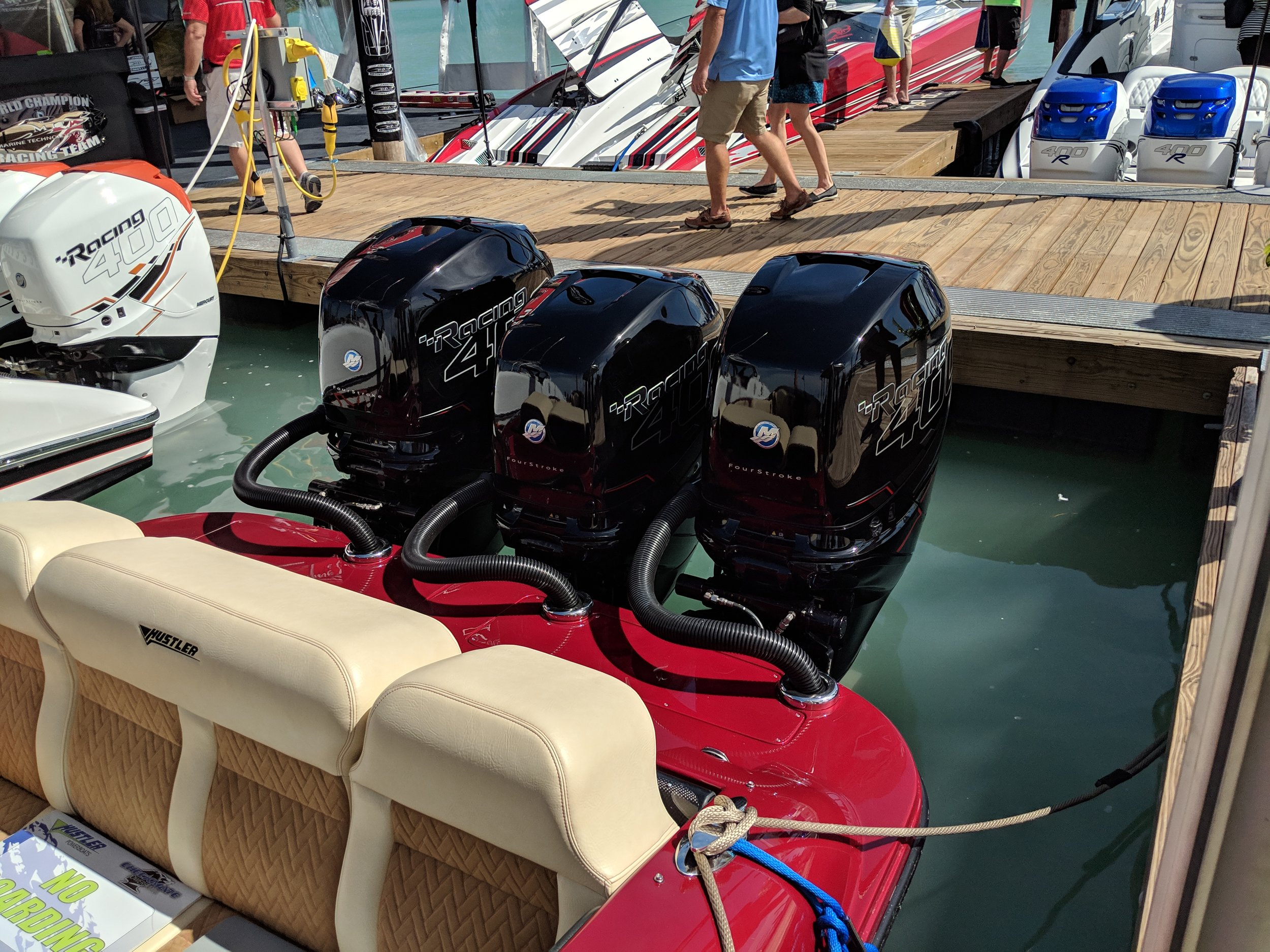 For sport boats like the Hustler Shotgun, it is hard to beat triple 400Rs. The replacement of the popular Verado inline 6, will have to be really good, and the V8 platform looks promising.
