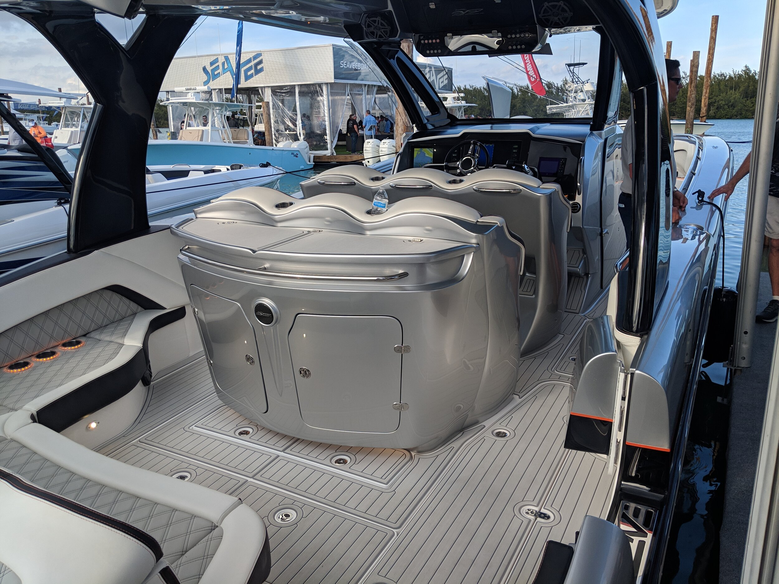 This actually looks more like a cocktail lounge on a spaceship than a proper boat interior. I don't find luxury center consoles all that comfortable, and you tend to do more standing in them.