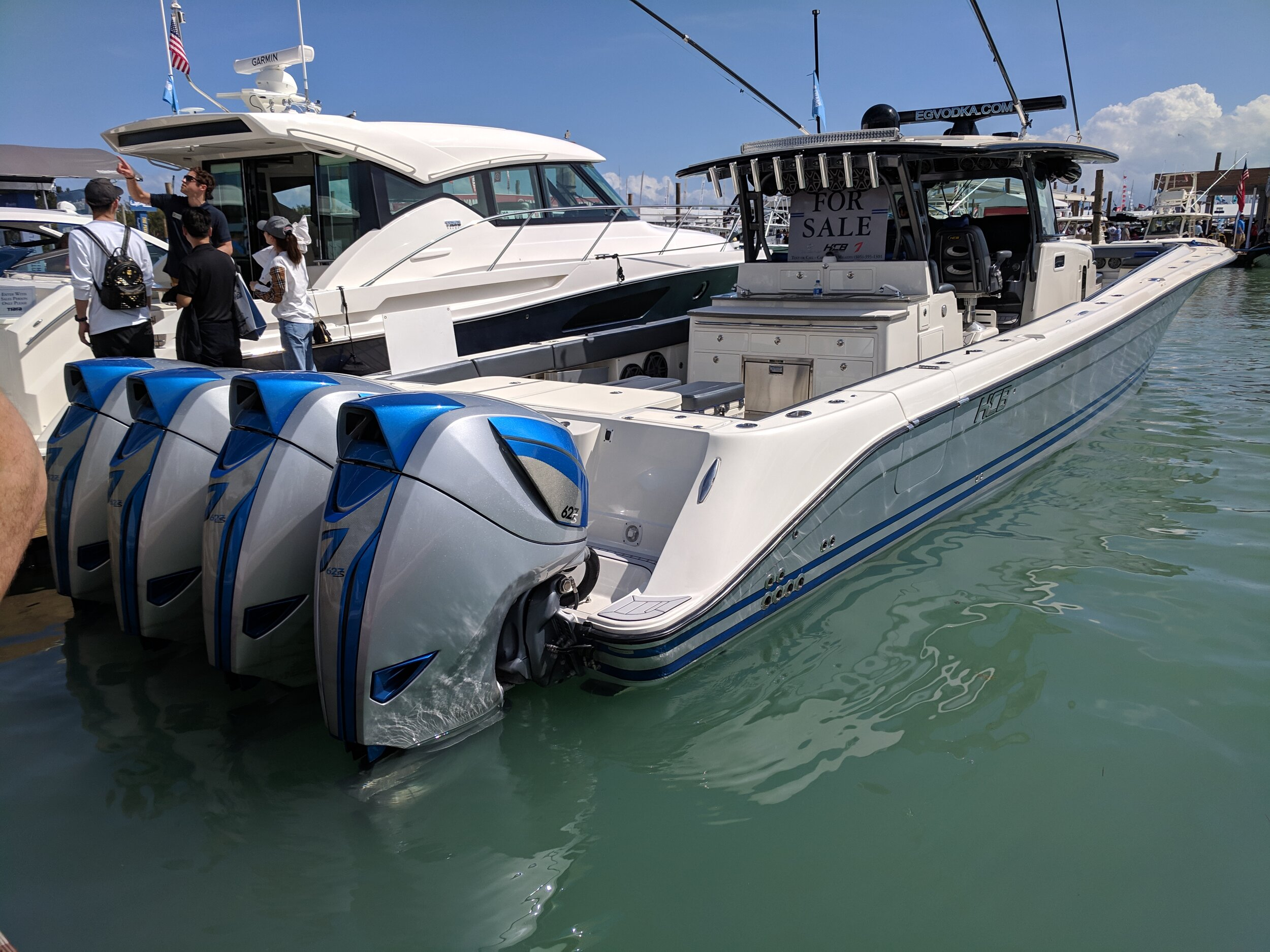 When you can barely fit the engines on the transom, you've gone too far. Even with the massive power of the quad Seven Marine outboards, this giant HCB still is no performer. Not a great design in my opinion.