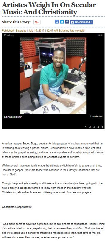 Artistes on Secular & Christian Music