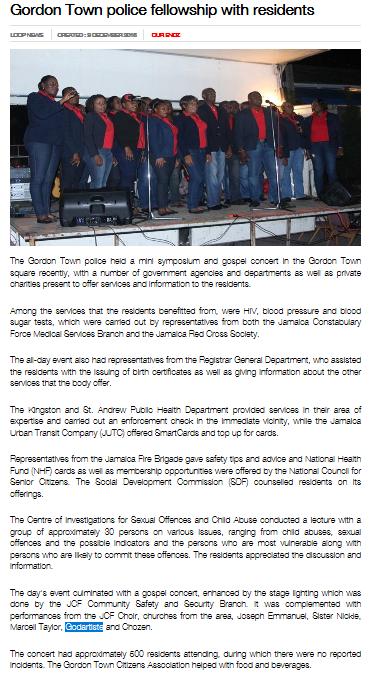 Gordon Town police fellowship with residents  + Godartiste