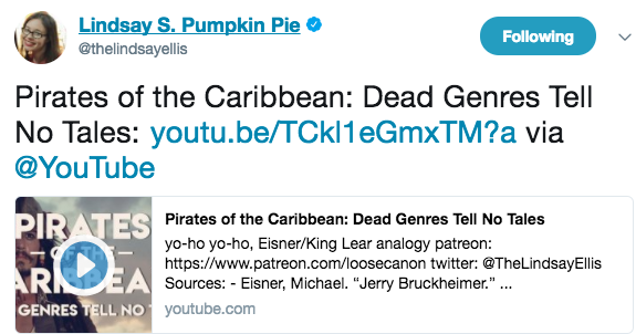 Lindsay Ellis' video essay on genre and Pirates of the Carribean