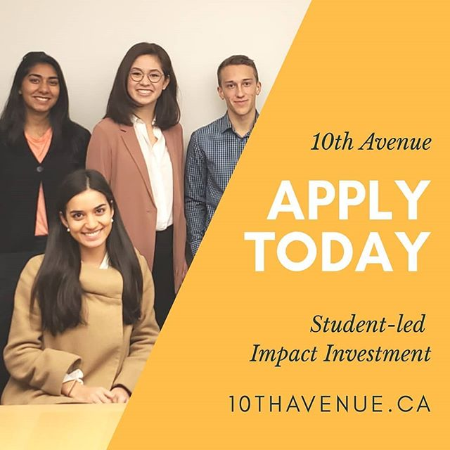 We are so excited to announce that 10th Avenue is now accepting applications from 3th-year UBC and 3rd and 4th-year SFU students for 2018-2019 cohort.  10th Avenue is a collaborative model to grow the social enterprise space in Vancouver.  Student teams lead investing activities for a social value fund to create impact-adjusted financing opportunities for local social ventures.  @helderventures provides training, advisory and coaching for the students, as well as subsequent investment management.  Applications are due on Sept 9, at 3 PM.  To learn more, visit 10thavenue.ca . . . #impactinvesting #socialenterprise #socent #helderventures #10thAvenue . . . #studentled #socialvaluefund #applytoday #socialventure #founderlife #startuplife