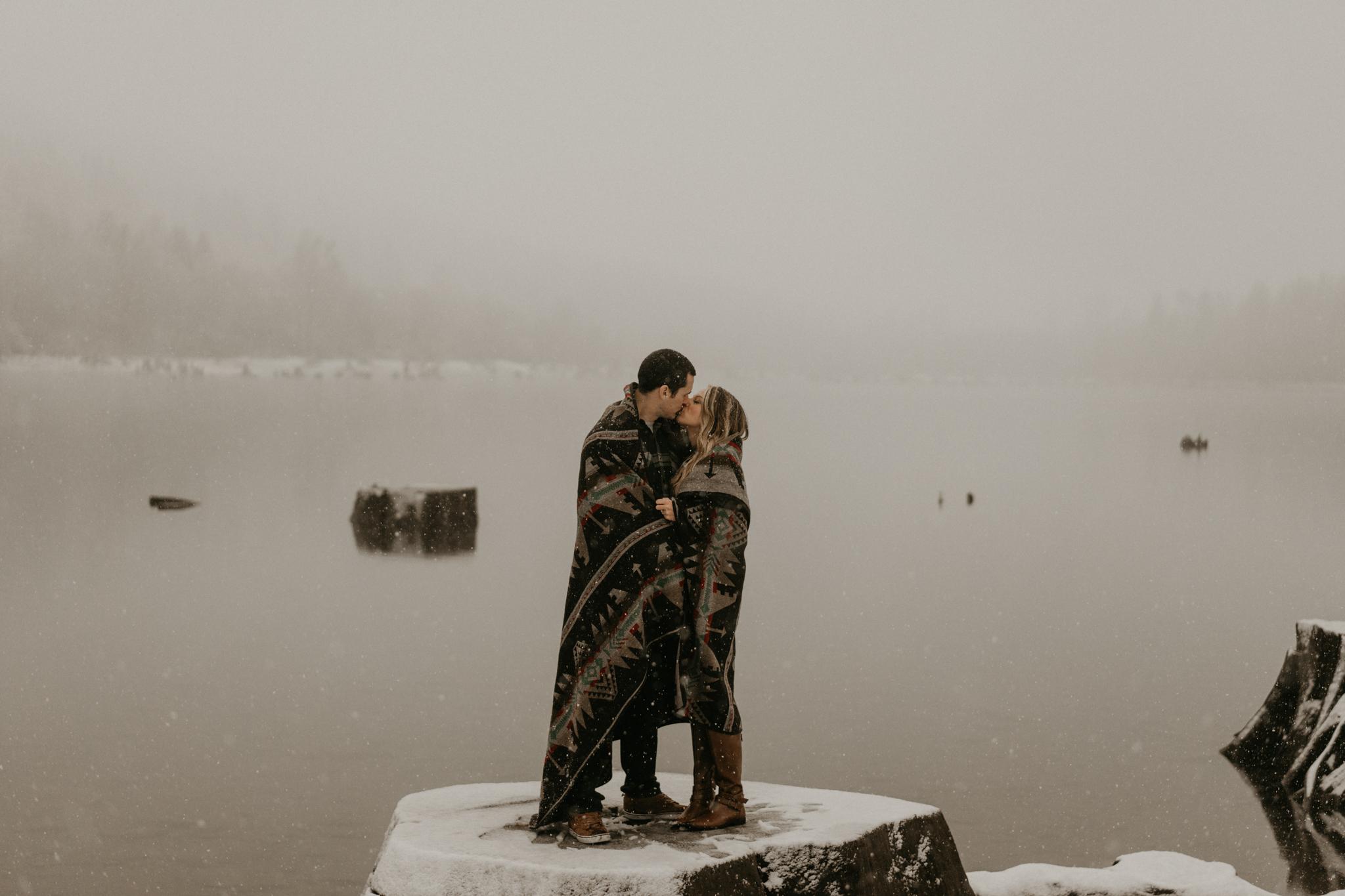 Snowy Engagement Photos Washington Seattle