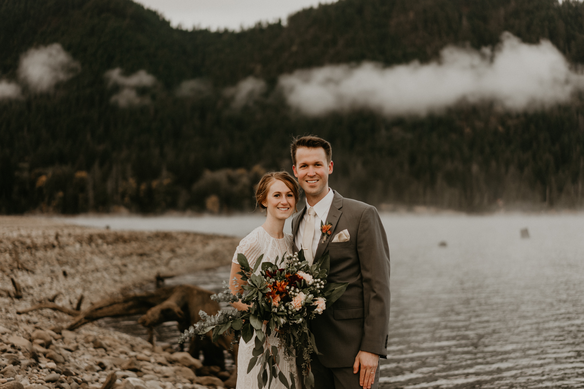 Boho elopement at Lake Cushman, Olympic National Park wedding