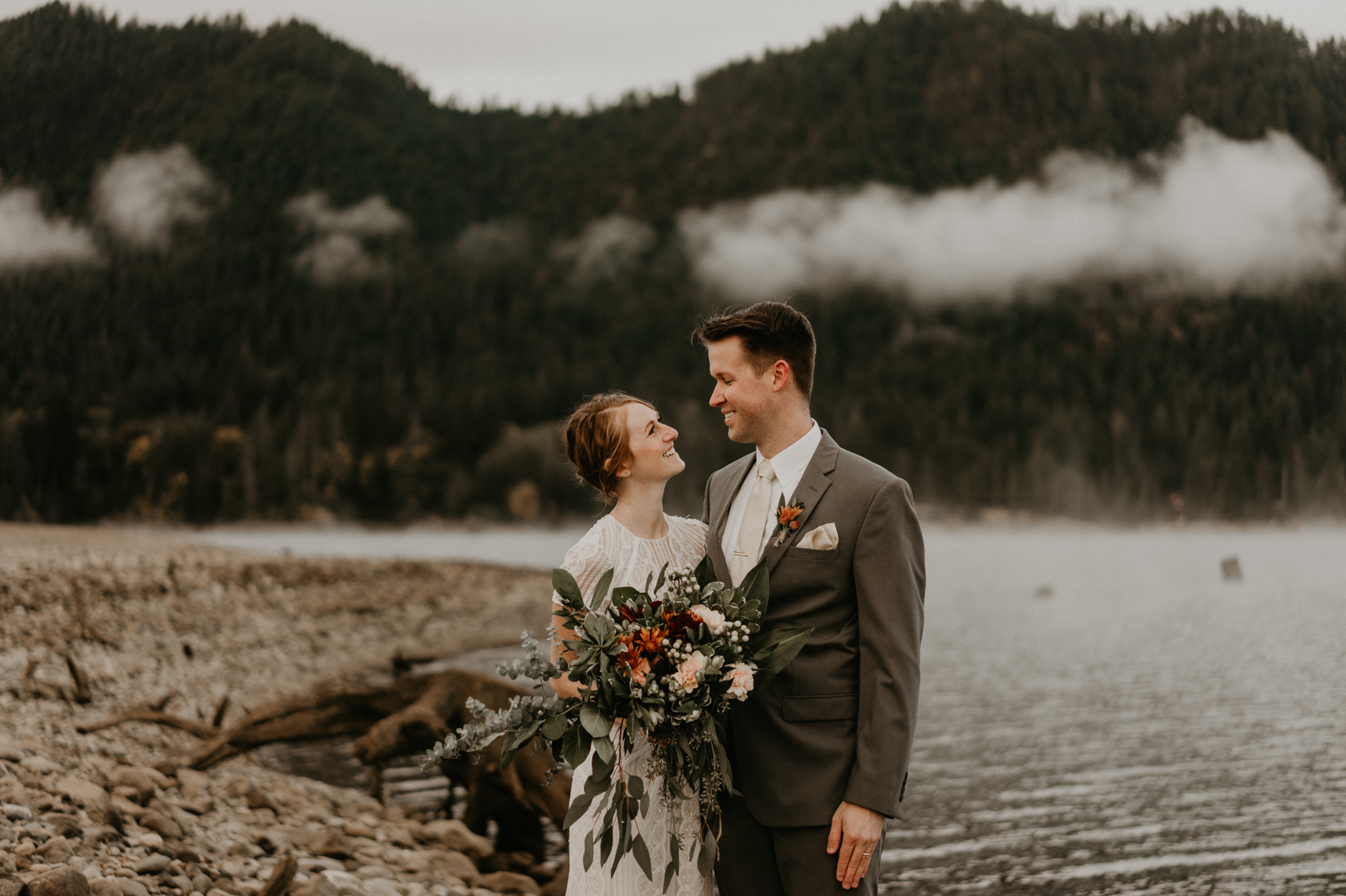 A very PNW Boho elopement at Lake Cushman, Olympic National Park wedding