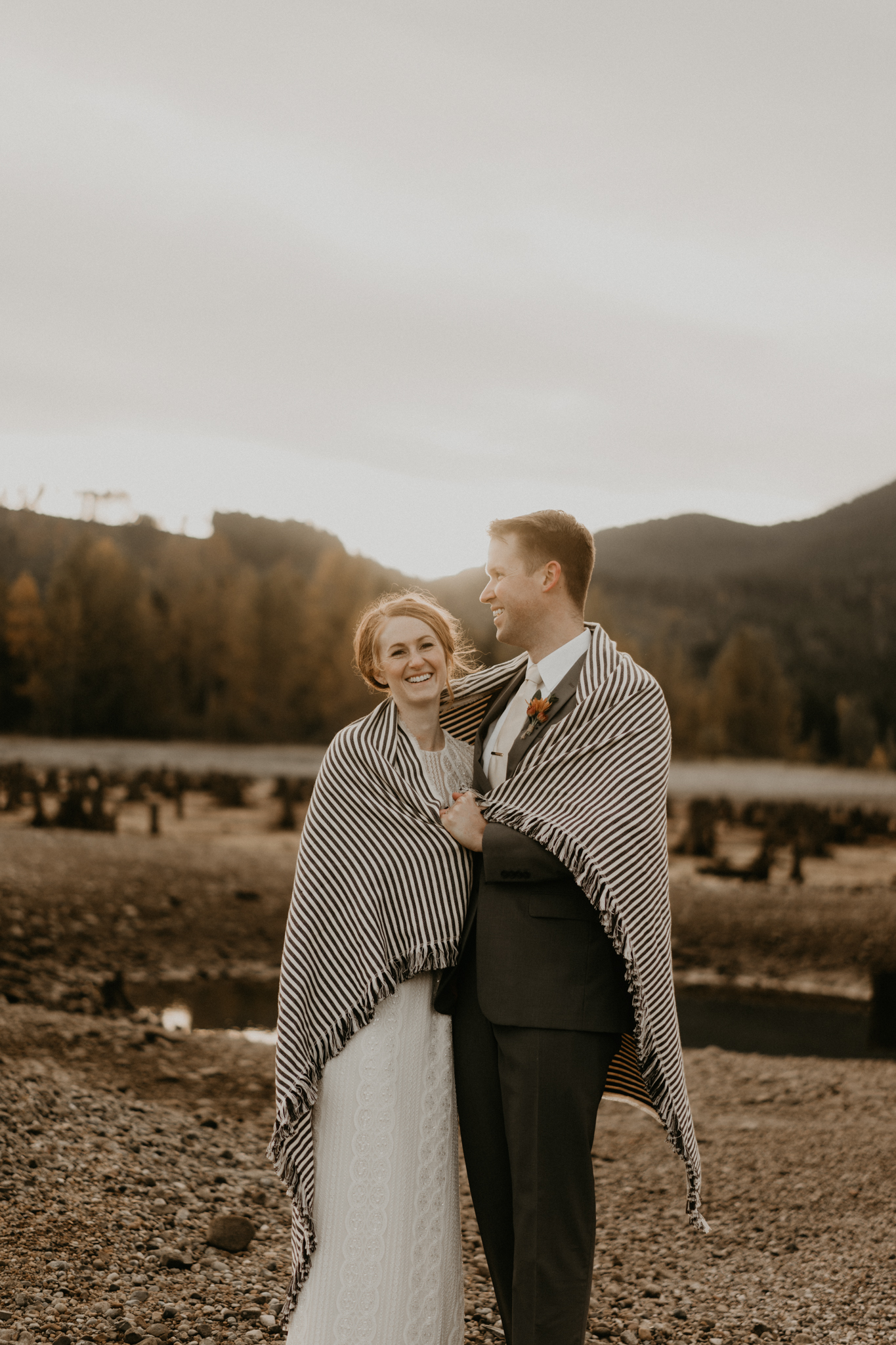 Beautiful sunrise for a Fall elopement by Olympic National Park