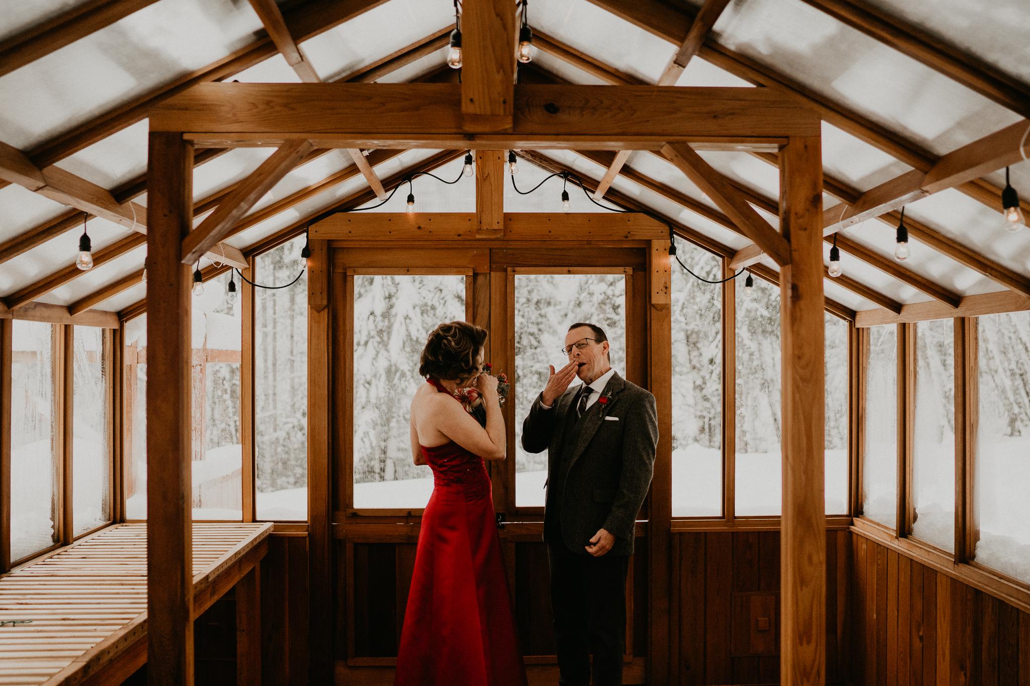 First look cry bride groom adventure couple wedding photographer