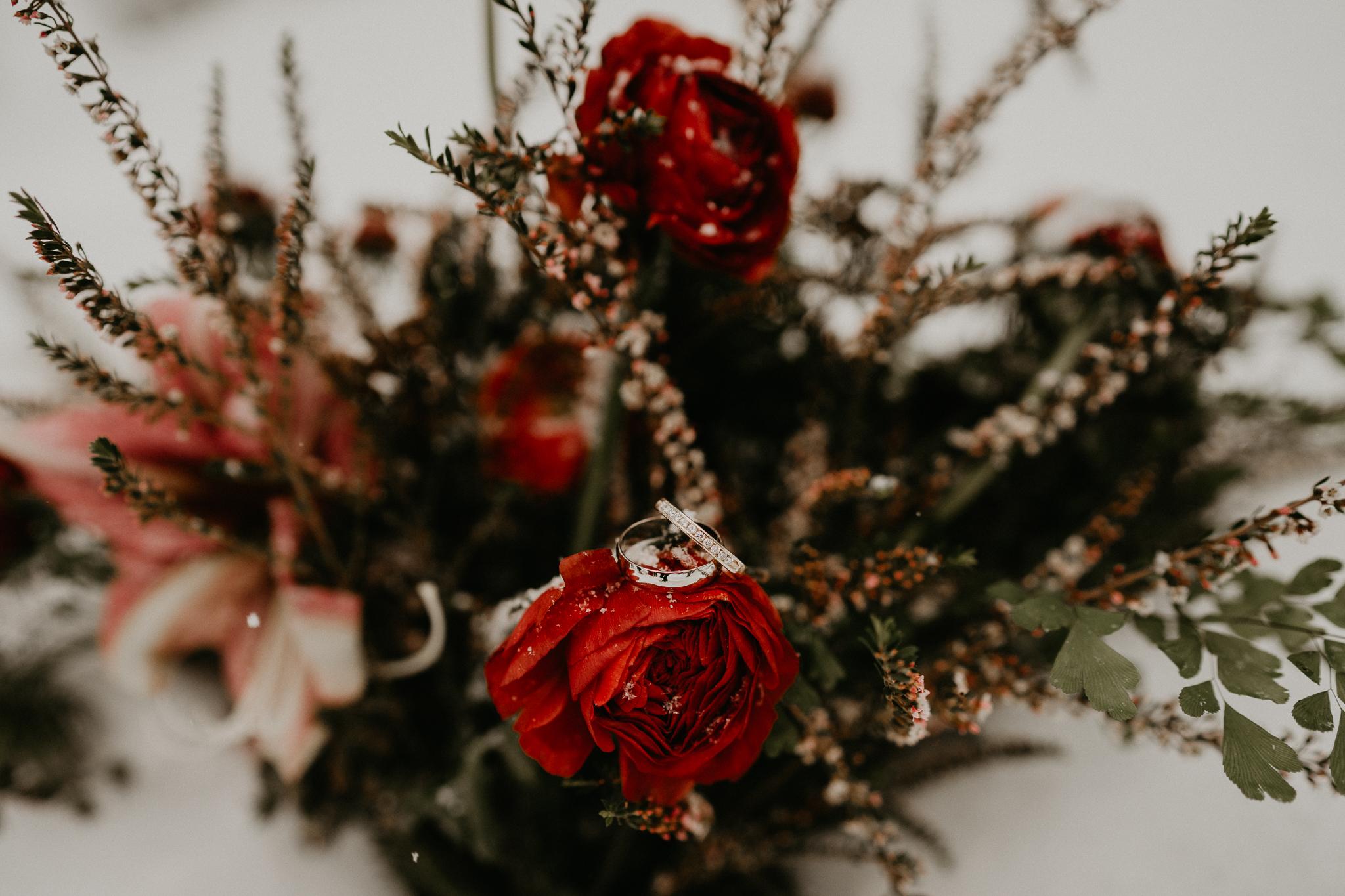 Rusted Vase Floral Co flower winter dark wine wedding bouquet