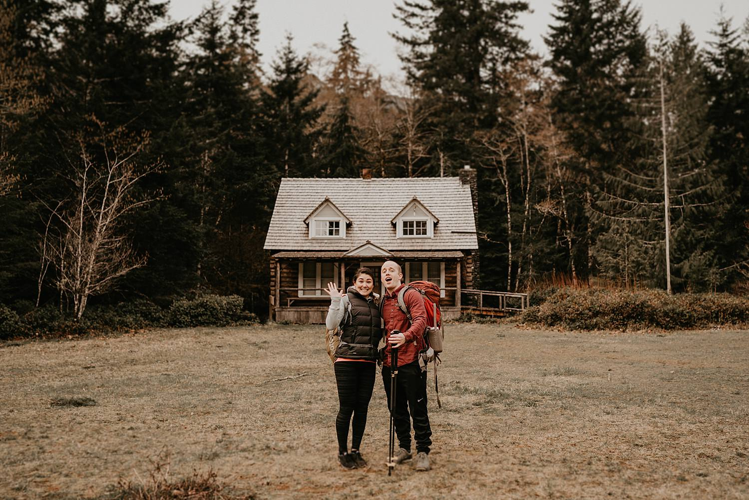 We started the morning with this photo of the couple by the Mount Storm King Ranger Station