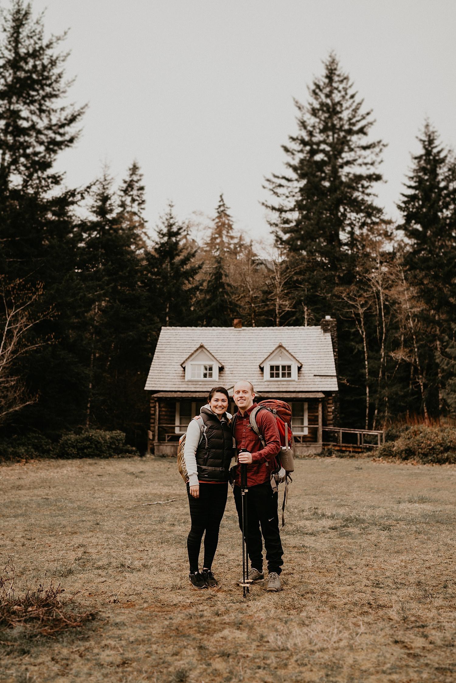 Mount storm king ranger station cute adventure engagement session Seattle PNW Wedding Photographer