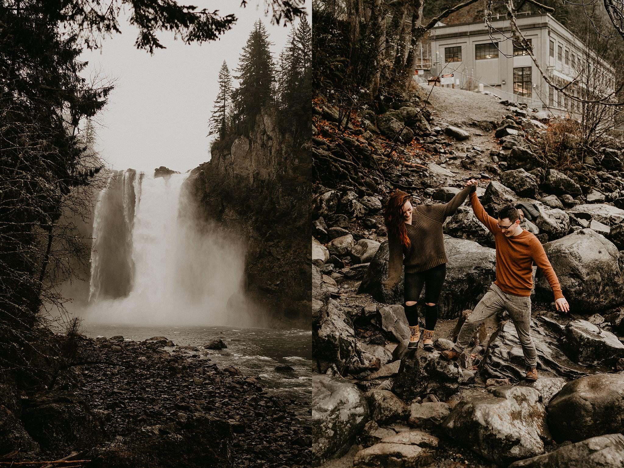Snoqualmie Falls winter rain engagement photos