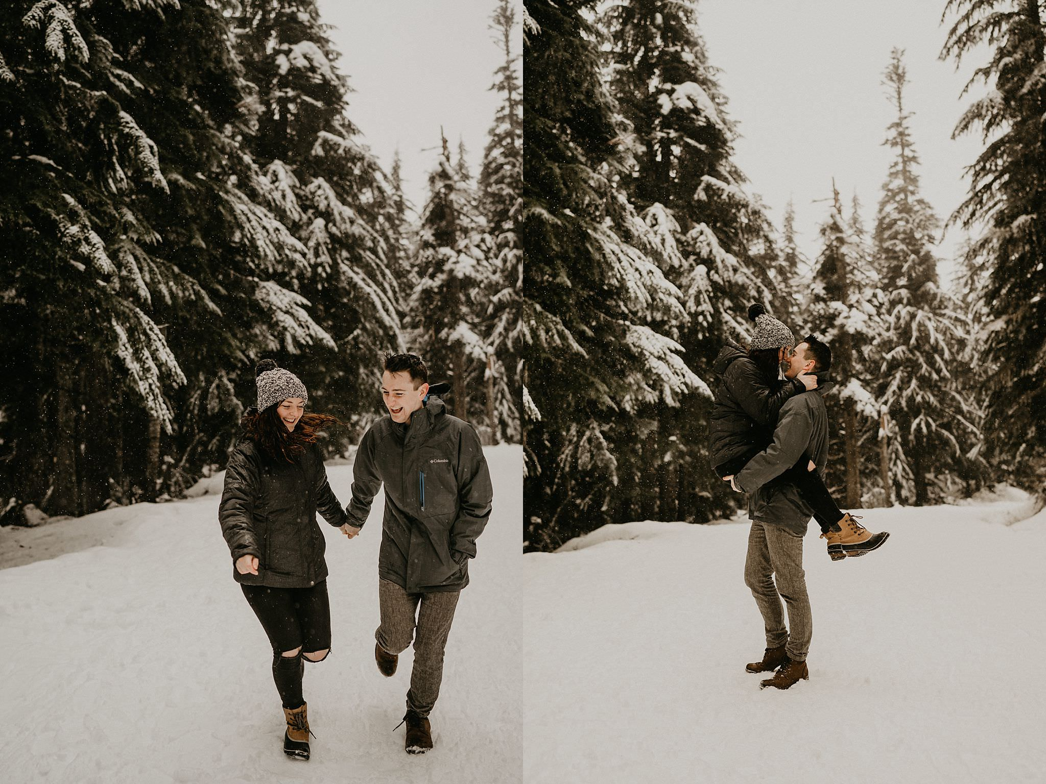 Running in the snow around Gold Creek Pond Lake