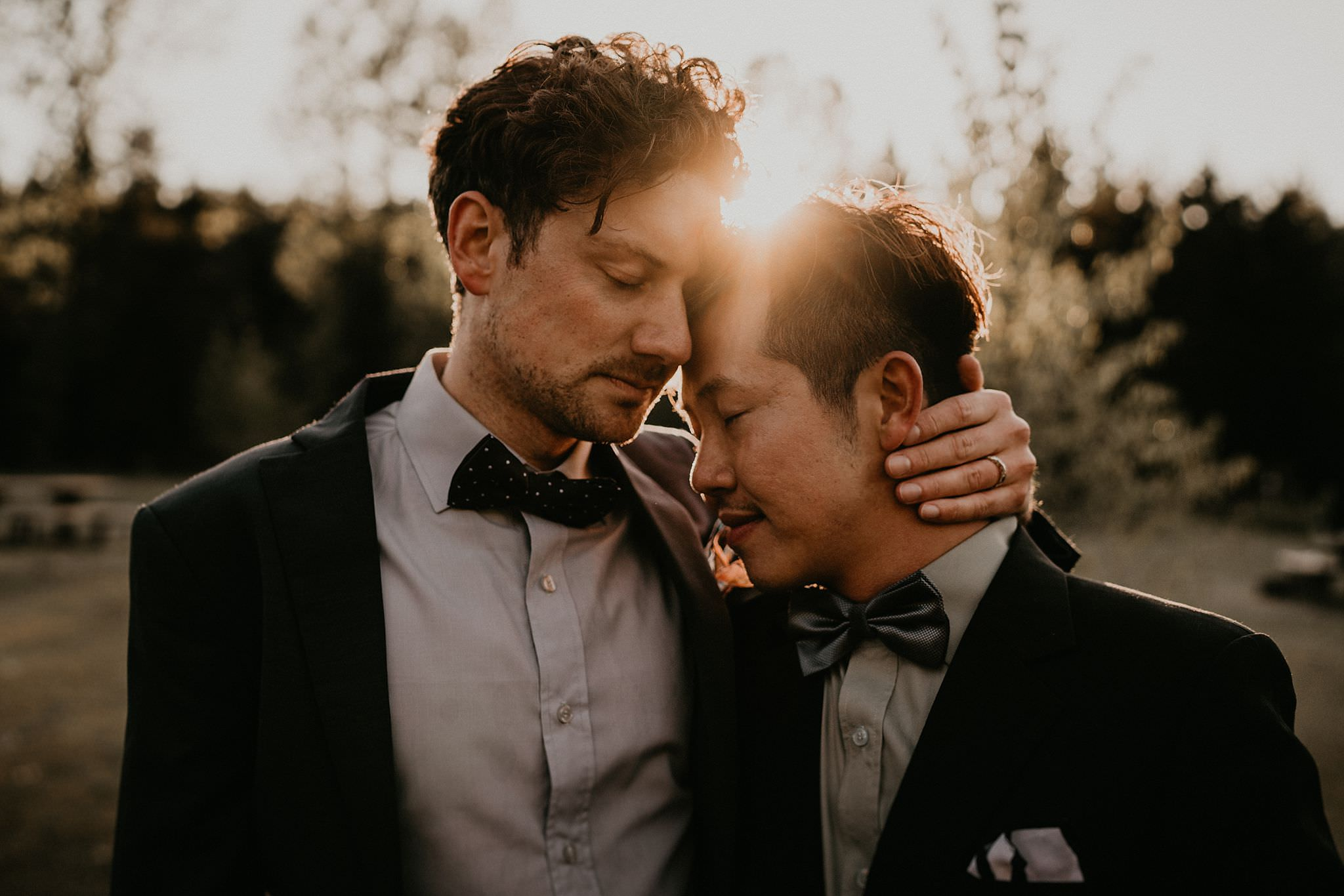 Gay couple after wedding day in the Pacific Northwest at Gold Creek Pond