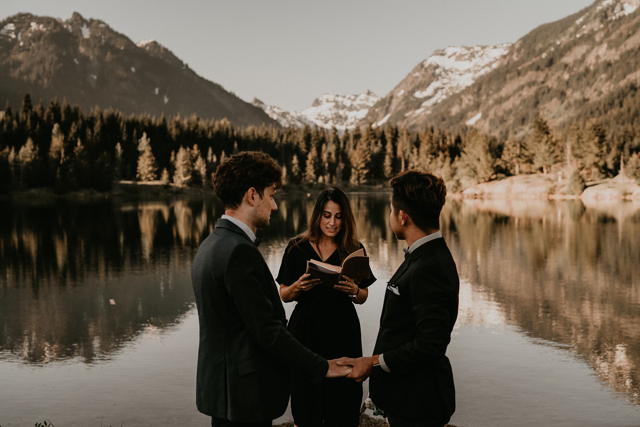 The Greatest Adventure Weddings married gay couple at Gold Creek Pond