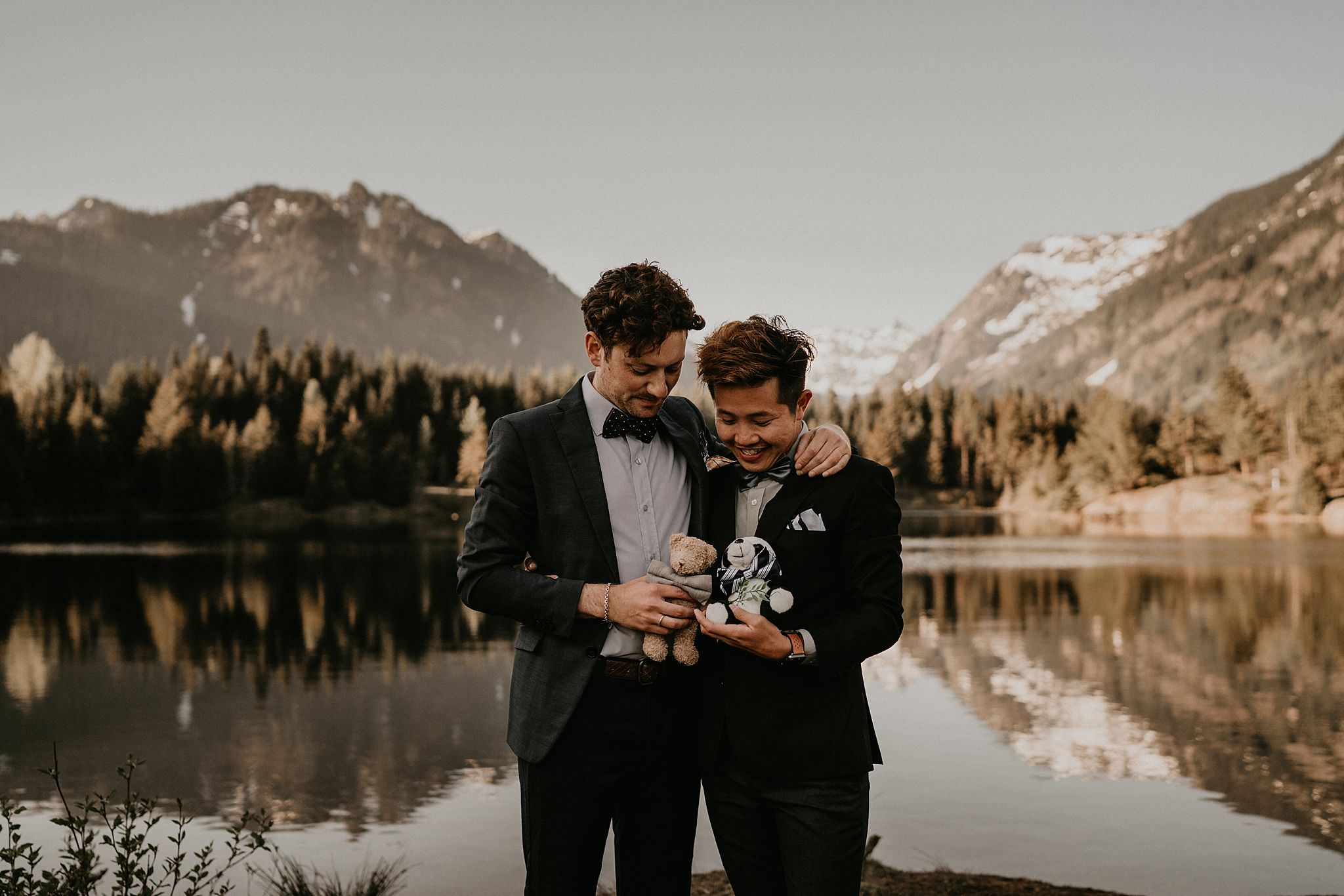 Alpine lake wedding same sex elopement