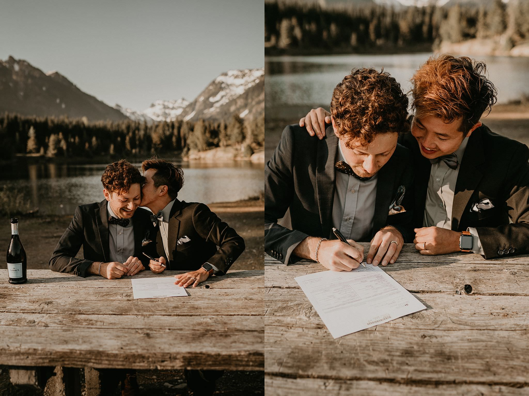 LGBT same sex couple eloped in front of mountains in the Pacific Northwest