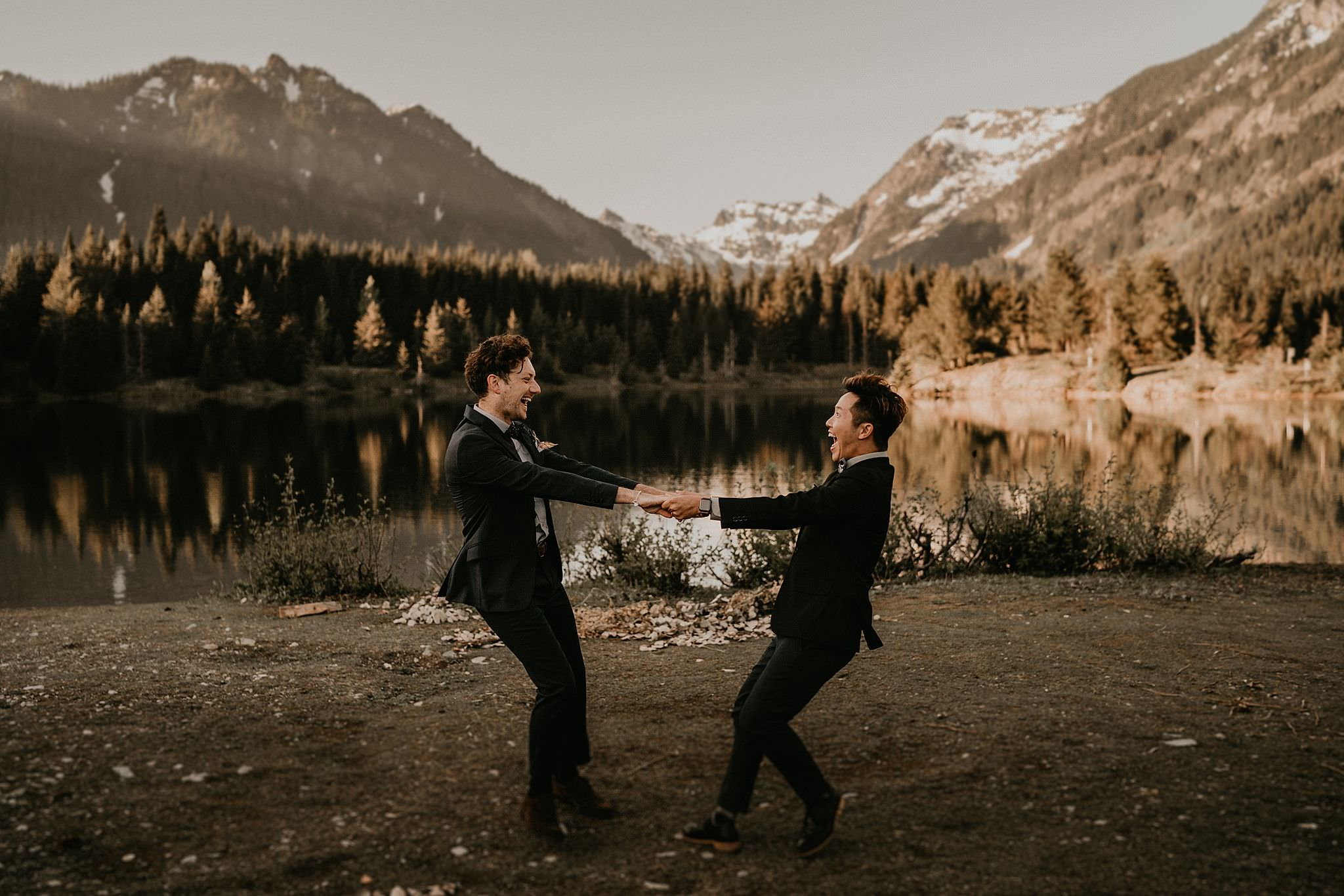 Mountain and lake wedding PNW Washington Seattle gay lesbian same sex