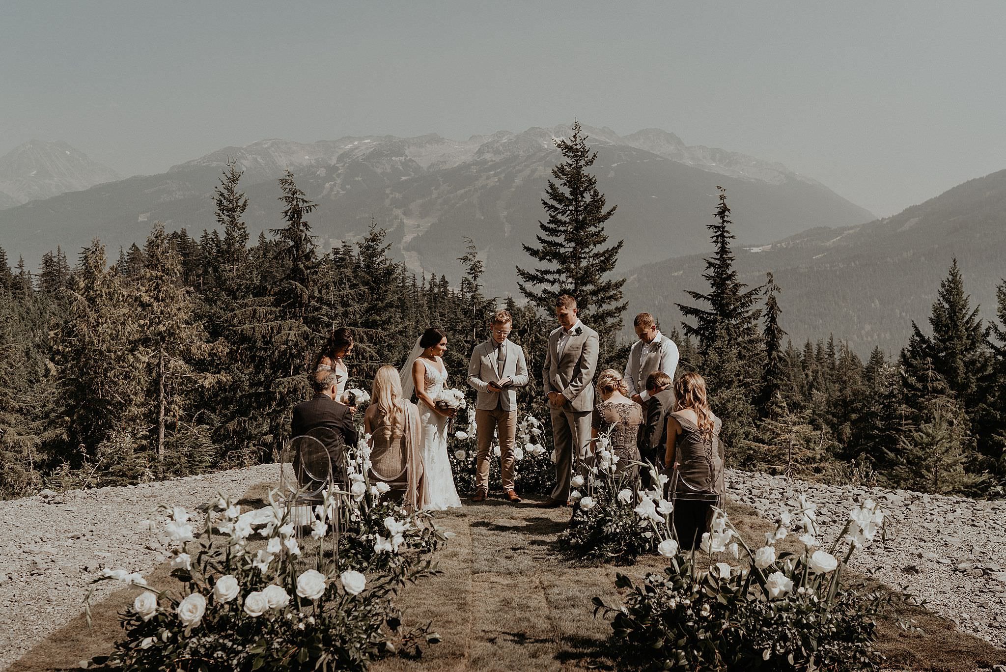 Intimate ceremony on whistler mountains from sea to sky gondola