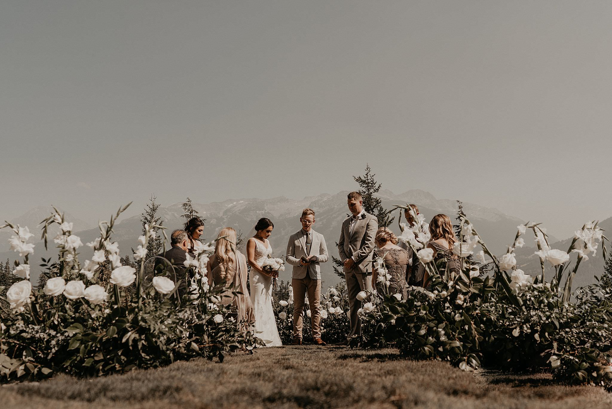 Intimate mountain views wedding ceremony in whistler Canada
