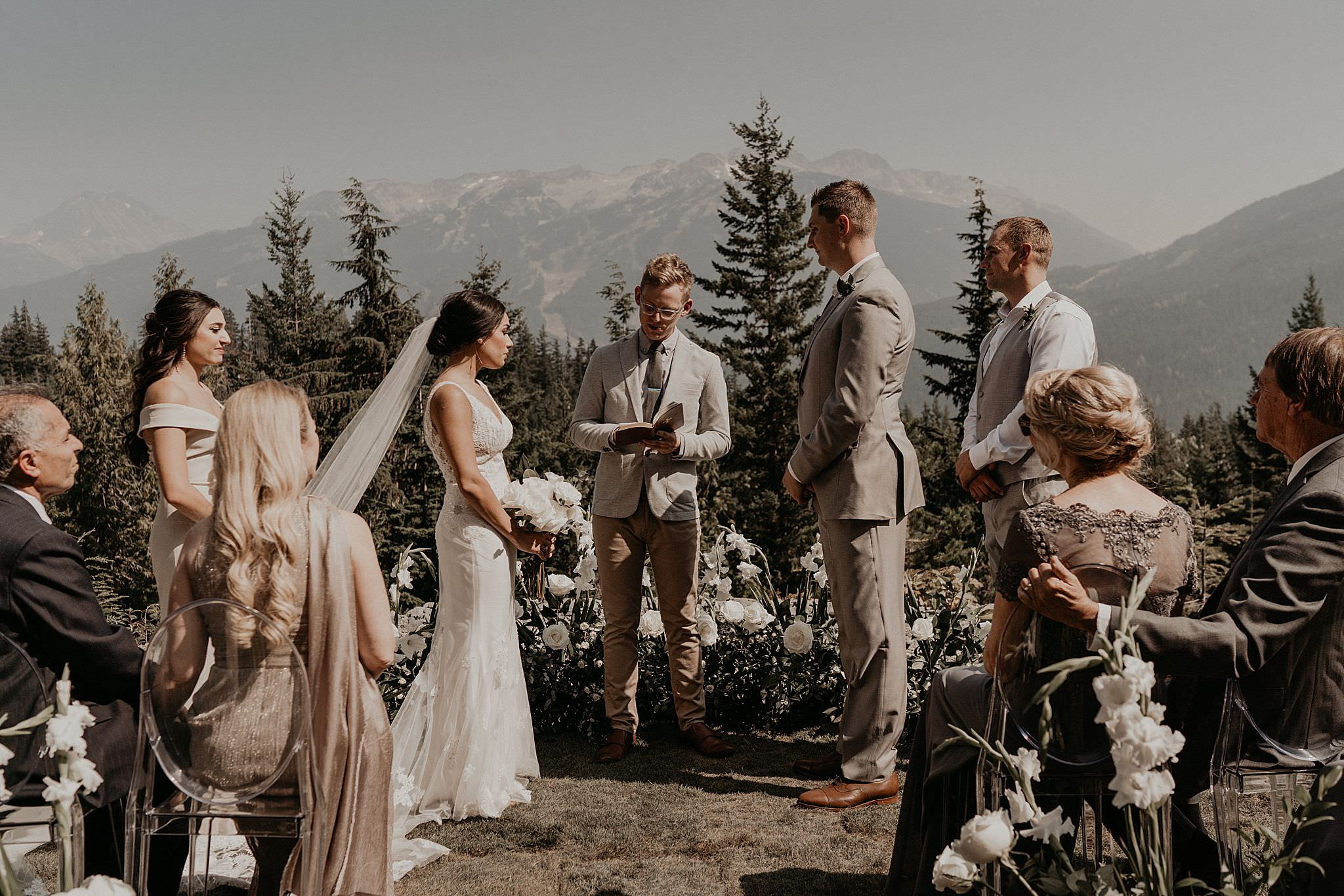 Epic destination wedding in whistler Canada with mountain views