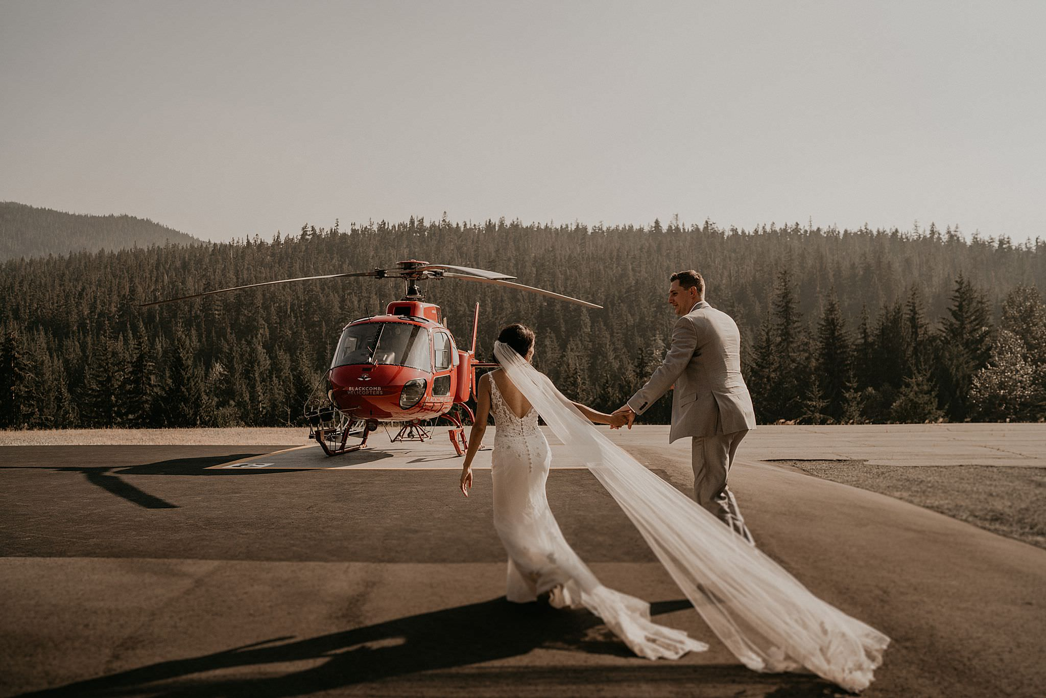 Epic helicopter adventure elopement in whistler Canada by Blackcomb helicopter