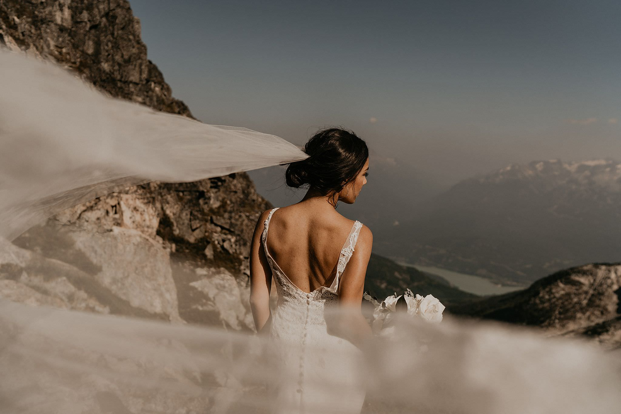 Jinza bridal wedding dress in epic adventure elopement in whistler