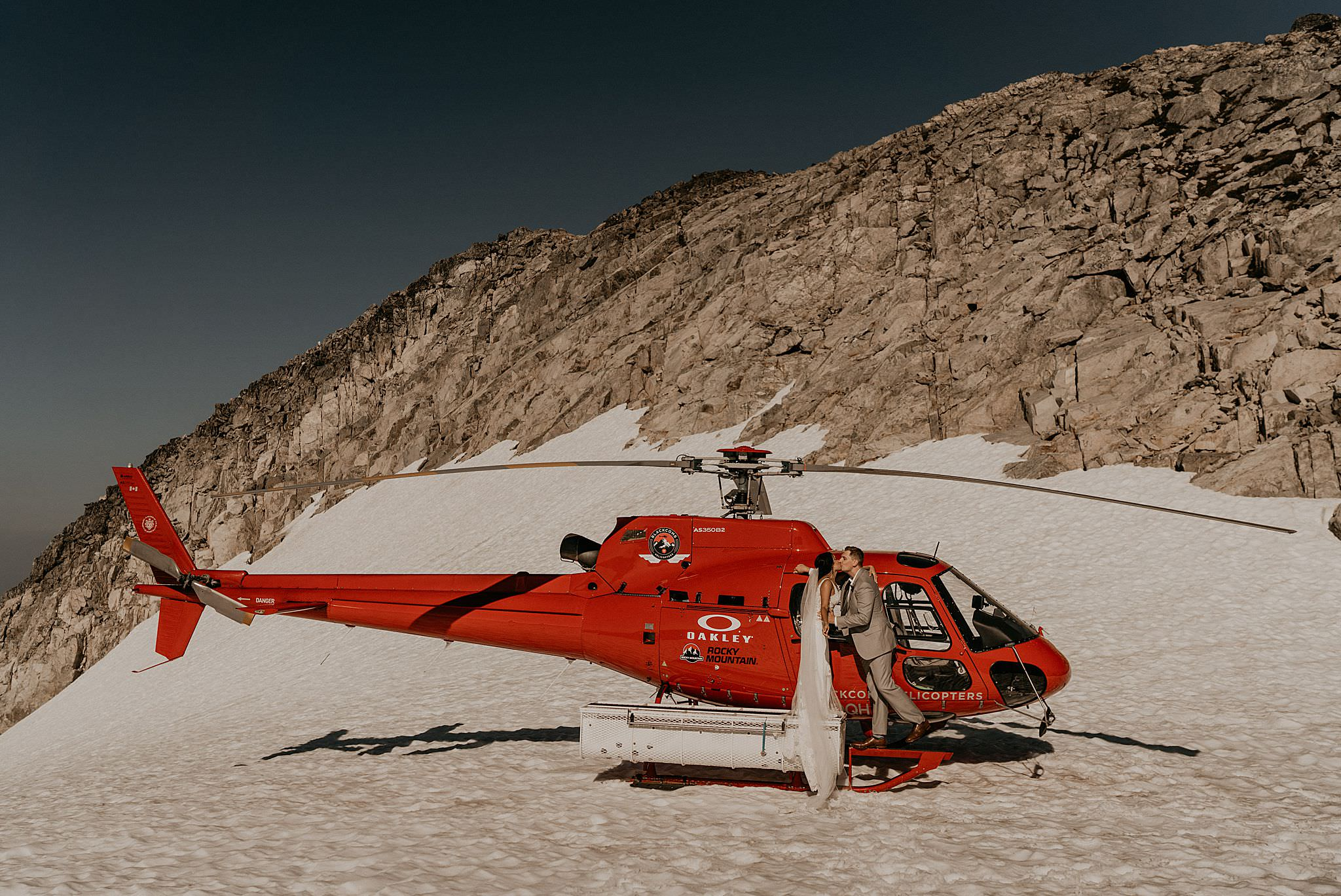 Helicopter elopement in whistler Canada in the snow and glacier