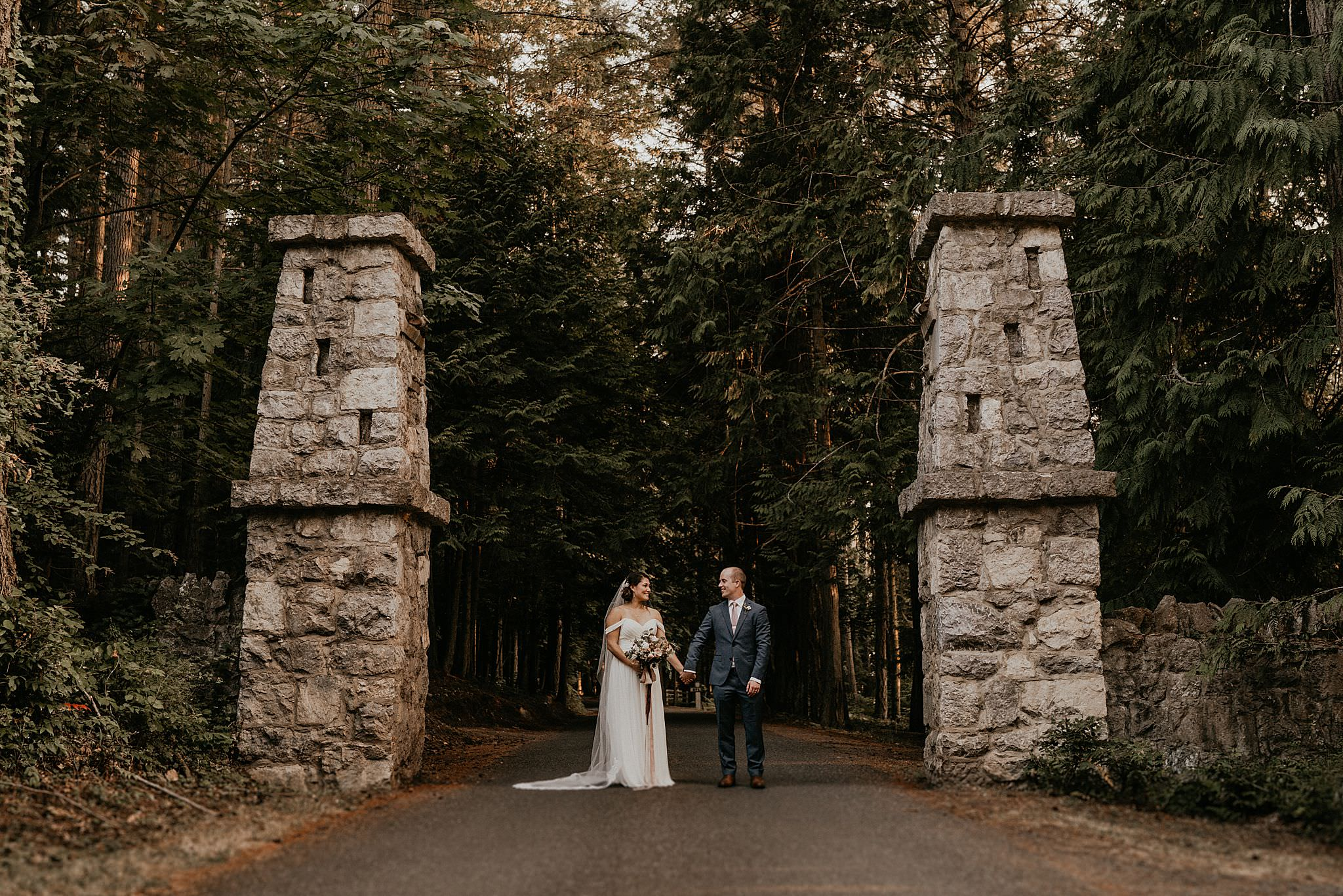 Bride and groom at Roche Harbor resort wedding for sunset photos