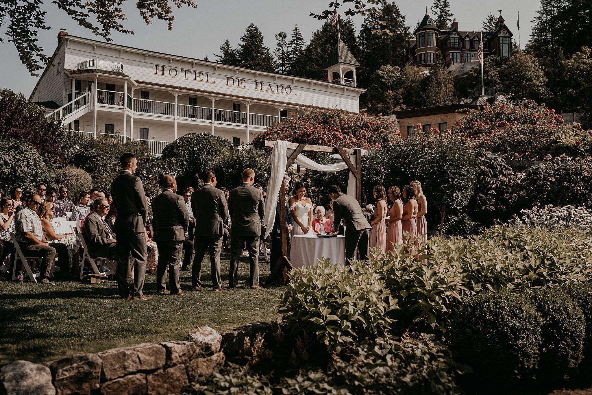 San San Kudo tea ceremony wedding at Roche Harbor resort on San Juan islands